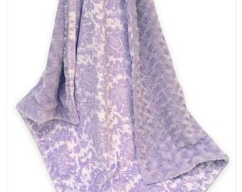Photoprop CLEARANCE Lavender Damask and Swirl Minky Baby Blanket, Light Purple Damask Minky Blanket,