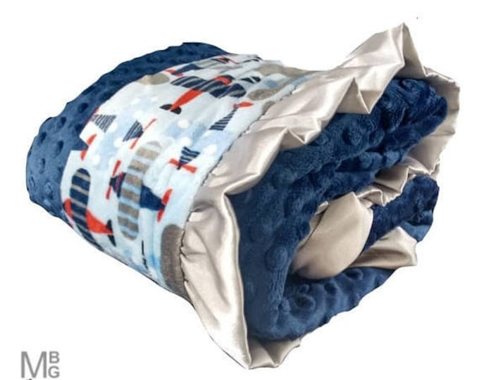 Photoprop CLEARANCE Airplanes Navy Blue and Gray Minky Baby Blanket with Gray Ruffle