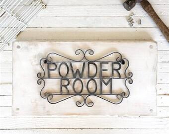 Powder Room Sign, Metal Bathroom Sign, Fixer Upper Decor, Bath Decor, Powder Room Decor