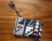 Wool Coin Purse / Phone Cord / Gift Card Holder / Zippered Pouch XL Southwestern Tribal Handcrafted Using Pendleton Woolen Mill Fabric