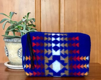 Wool Clutch XXL Unlined / Travel Bag / Cosmetic Bag / Makeup Bag Sapphire Southwest Tribal Handcrafted From Pendleton Woolen Mill Fabric
