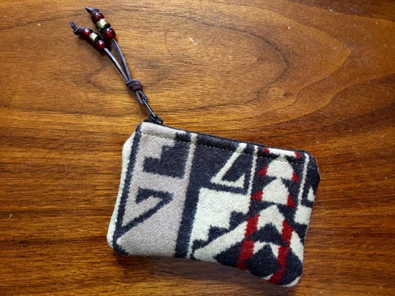 Wool Coin Purse / Phone Cord / Gift Card Holder / Zippered Pouch XL Earthy Brown