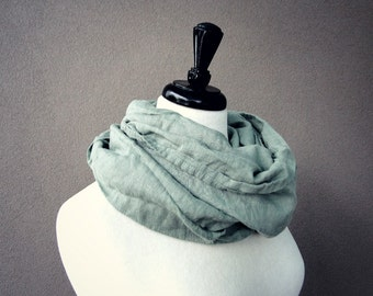 Linen infinity scarf sage grey