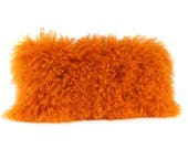 Mongolian Fur Pillow ~ Orange Fur Pillow ~ Genuine Mongolian Lamb ~ Orange Mongolian Accent Pillow ~ Bright Orange ~ Mongolian Lumbar Pillow