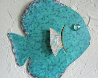 Metal Wall Art Fish Sculpture Recycled Metal Beach House Coastal Bathroom Decor Teal Green 7 x 7
