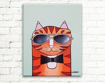 Original Cat Painting on Canvas, Orange Tabby Cat Wearing Glasses Wall Art, Whimsical Cat Lover Gift