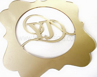 Set of 2 Mirror Monogram Charger Placemat