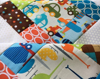 Ready Set Go Unfinished baby sized quilt top - Robert Kaufman - airplanes, cars, trains, helicopters / Anne Kelle / ready to quilt / boy