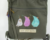 Canvas  Backpack, Army Green Tote, Appliquéd Bird Themed Bag, Bag for Bird Lover, Fabric Backpack, Cinch Bag,  Grunge Cotton Canvas Tote