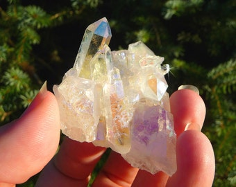 FAIRY TREASURE ~ Rainbow Aura Quartz Crystal Cluster ~ Beautiful Faery Stone