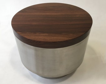 SALE!!! QUICK SHIP!! Contemporary Modern Side Table - Solid Cocobolo and Stainless Steel Cocktail or Coffee Table - Bedside Table