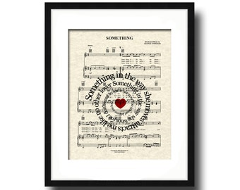 The Beatles Something Song Lyric Sheet Music Art Print, Spiral Song Lyric Art, Custom Wedding, Custom Anniversary, First Dance, Name & Date