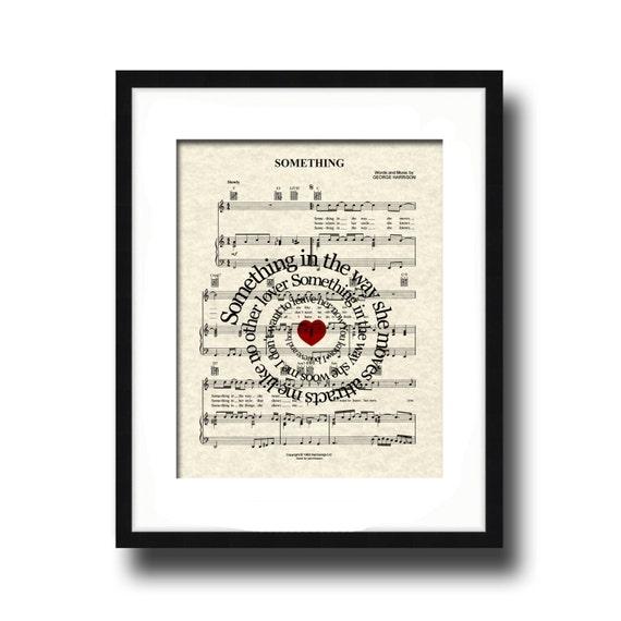 The Beatles Something Song Lyric Sheet Music Art Print, Spiral Song Lyric Art, Custom Wedding, Custom Anniversary, First Dance, Name & Date