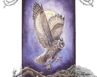 Original Celtic Owl Art Print 'Bearing Three Hallowed Rings' Choose your Color - Embellishment Option -Fantasy Illustration- Blackthorn Moon