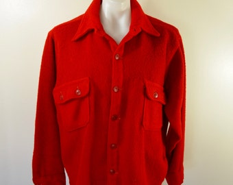 Vintage 1940's GUNFLINT by KENNOC Company WOOL Long Sleeve Shirt hunting slant pockets