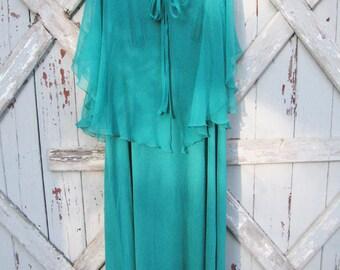 Lily Lynn - vintage teal 1970s dress L XL XXL