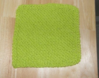 Lime Green Knitted Dish Cloth - Cotton