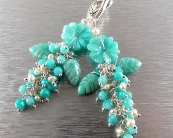 25OFF Carved Amazonite Flower and Leaves Cluster Earrings