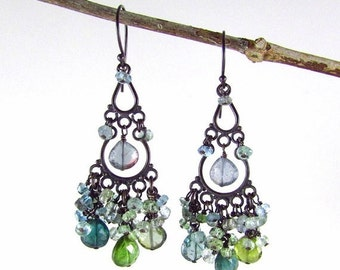 25% Off Tourmaline And Sapphire With Oxidized Sterling Silver Cluster Chandelier Earrings