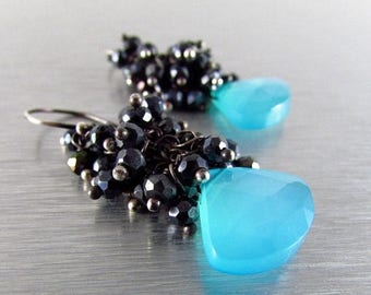 25 % OFF Turquoise Blue Chalcedony and Black Spinel Wire Wrapped Cluster Earrings - Black Sand Beach