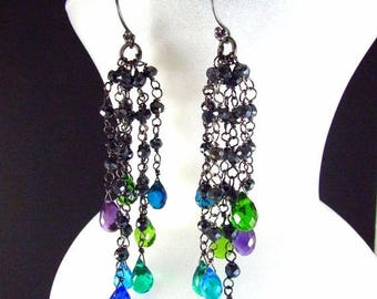 25 % OFF Colorful Quartz, Amethyst and Pyrite Wire Wrapped Oxidized Dangle Cluster Earrings