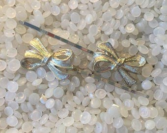 vintage barrette beautiful rhinestones bobby pin, sweet bow