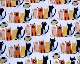 Kawaii Japanese Fabric - Cat's Family on White - Half Yard (ma170422)