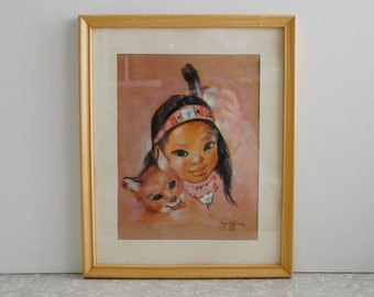 native american girl and fox framed print by artist Gerda Christoffersen, big-eyed child lithography print, cartoon illustration , signed