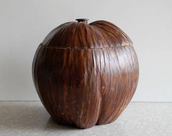 coconut husk jar, tiki bar decor, lidded container, tropical souvenir, palm tree fruit, unique novelty gift, margaritaville, jimmy buffet