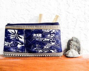 Boho Pouch, Coin Purse, Change Pouch, Zipper Pouch, Fabric Pouch, Pouch, Gift for Her, Gift Under 20, Vintage African Print in Blues