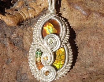 Wire Wrapped Pendant ~ Mexican Fire Agate, Canadian Ammolite, Genuine Gemstone, Sterling Silver ~ Handcrafted, Earthy, Heady Wrap, Autumn