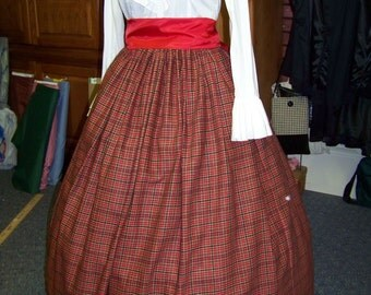 Civil War Ladies Long Skirt and sash one size fit all Black, Red, and Gold plaid cotton homespun