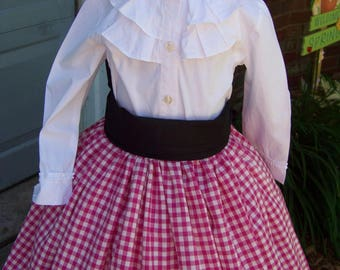 Child's Colonial,Civil War costume Long drawstring SKIRT Pink and white checked homespun with black sash,Handmade and white cotton blouse