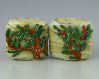 handmade lampwork glass beads matched earring set square nugget tile raised leaf detail - Pine Nuggets