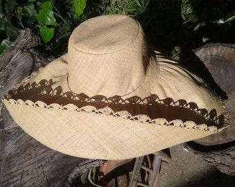 Crochet Edge Wide Brim Linen Straw Hat