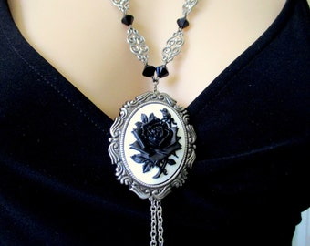 Jet Black Gothic Vintage Style Rose Cameo Victorian Inspired Necklace with Detachable Brooch Flower Pendant with Swarovski Crystal Beads