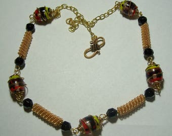 Red, Black, and Gold Wire Beads and Fancy Glass Beads Necklace by Carol Wilson of Je t'adorn