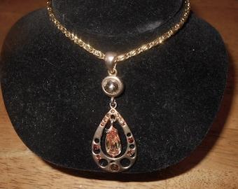 Vintage Rhinestone Necklace Rootbeer and Orange Stones