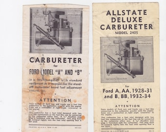 vintage 1940s adjustment instructions for ford model A and B carbureter's  Allstate deluxe model 2405