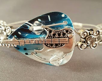 "Guitar pick and Guitar string bracelet ""Blues Guitar"" Musician Guitarist gift"