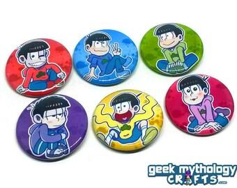 Osomatsu-san Anime Pins Button Badges - Osomatsu Karamatsu Choromatsu Ichimatsu Jyushimatsu Todomatsu