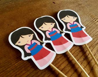 Mulan Party - Set of 12 Double Sided Mulan Cupcake Toppers by The Birthday House