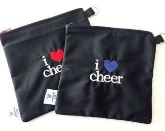 One Small 8 x 8 Zippered Cosmetic Bag: I Love Cheer