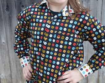 Youth Boys Handmade Organic Cotton Button Down Dress Shirt - Long Sleeve Button Down with Accent Button Theme Collar - Knap 3105