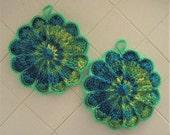 Crocheted Pair of Scalloped Potholders - Spring Burst