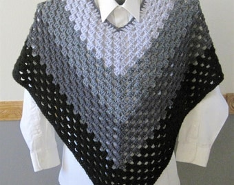 Crocheted Classic Granny Square Poncho - Shades of Gray
