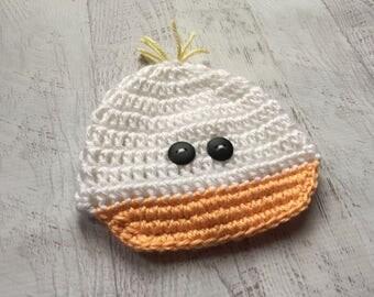 Newborn Visor Hat, Duck Hat, Newborn Chick Hat, Easter Hat, Baby Girl Hat, Baby Boy Hat, Spring Hat, Newborn Winter Hat, READY TO SHIP