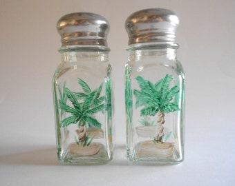 Palm Trees Salt Pepper Shakers Spice Shakers Glass Shakers Glass Jars Handpainted Glass Clear Glass Square Size Palm Trees Kitchen
