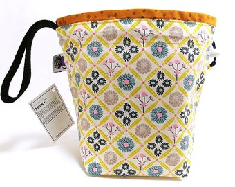 Small Knitting  Crochet Project Bag - Woven Floral