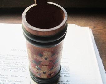 Vintage Wood Vase * Scandinavian * Rosemaling * Traditions * Wedding Gift * Flower Vase * 1950's  * German Gifts * Handpainted  Wood